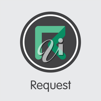 REQ - Request. The Market Logo or Emblem of Virtual Currency, Market Emblem, ICOs Coins and Tokens Icon.