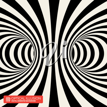 Black and White Stripes Projection on Torus. Vector Illustration of Torus Inside View with Twisting Black and White Lines.