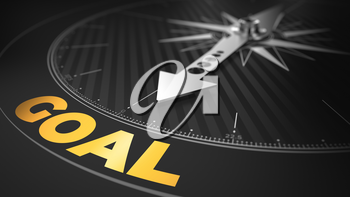 3D Illustration of an Abstract Compass Over Black Background with Needle Pointing the Text: Goal - Business Concept.