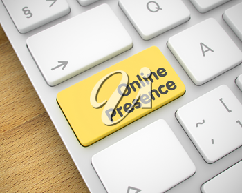 Business Concept: Online Presence on Computer Keyboard lying on the Wood Background. Close-Up View on the Modern Laptop Keyboard - Online Presence Yellow Button. 3D Render.