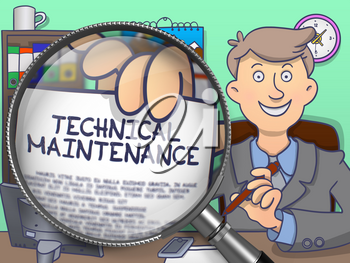 Technical Maintenance on Paper in Businessman's Hand through Magnifying Glass to Illustrate a Business Concept. Colored Doodle Style Illustration.
