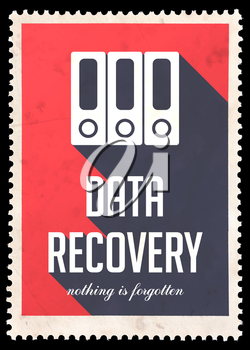 Data Recovery on Red Background. Vintage Concept in Flat Design with Long Shadows.