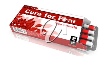Cure for Fear  - Red Open Blister Pack Tablets Isolated on White.