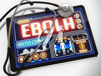 Ebola on the Display of Medical Tablet and a Black Stethoscope on White Background.