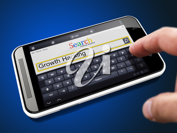 Growth Hacking in Search String - Finger Presses the Button on Modern Smartphone on Blue Background.