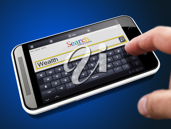 Wealth in Search String - Finger Presses the Button on Modern Smartphone on Blue Background.