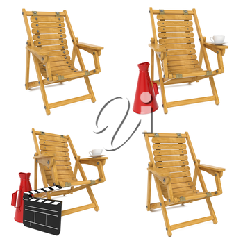 Set of Wooden Chair for Director on White Background.