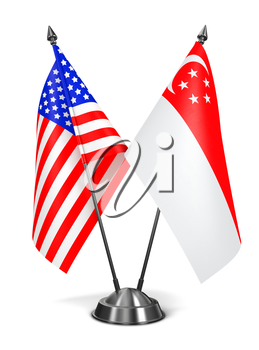 USA and Singapore - Miniature Flags Isolated on White Background.