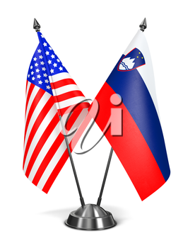 USA and Slovenia - Miniature Flags Isolated on White Background.