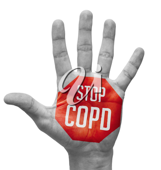 Stop COPD - Red Sign Painted - Open Hand Raised, Isolated on White Background.