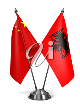 China and Albania - Miniature Flags Isolated on White Background.