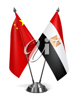 China and Egypt - Miniature Flags Isolated on White Background.