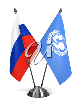 Russia and UNICEF - Miniature Flags Isolated on White Background.