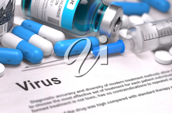 Virus - Printed Diagnosis with Blue Pills, Injections and Syringe. Medical Concept with Selective Focus.