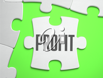 Profit - Jigsaw Puzzle with Missing Pieces. Bright Green Background. Close-up. 3d Illustration.