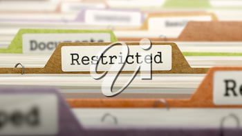 Restricted Concept on Folder Register in Multicolor Card Index. Closeup View. Selective Focus.