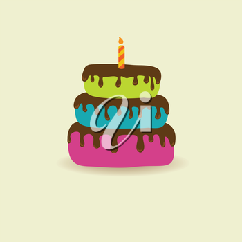 Royalty Free Clipart Image of a Birthday Cake with Candle
