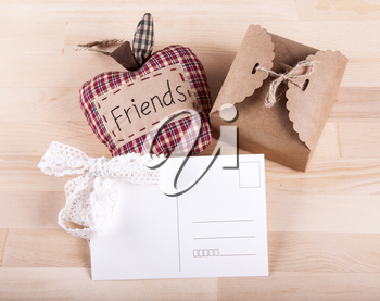 Beautiful composition with invitation cards,  friendship. Work executed in vintage style.