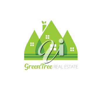 Eco house with green leaves. House logo. Ecological house icon.