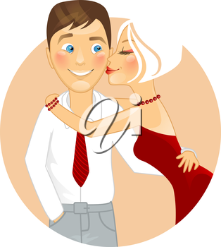 Vector illustration of Kissing couple
