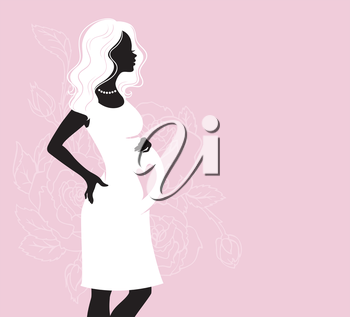 Vector illustration of Pregnant silhouette woman