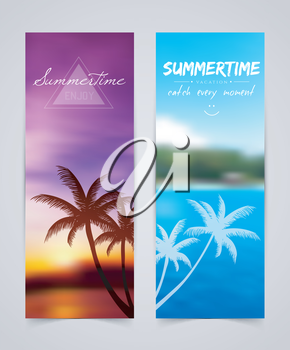 Vector illustration (eps 10) of Palm silhouettes cards