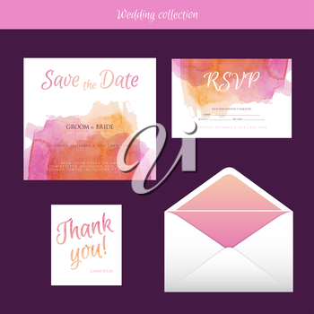 Vector illustration of Wedding collection with watercolor