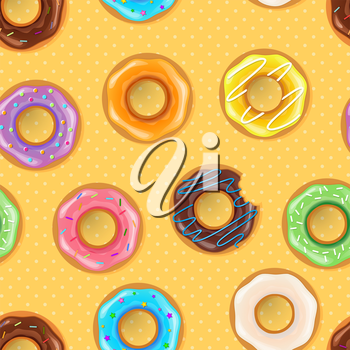 Vector illustration of Colorful donuts seamless pattern
