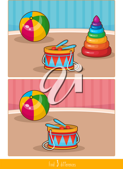 Educational children game, vector. Logic game for kids. Find 3 differences.