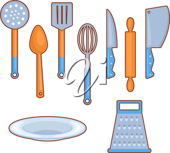 Set of different useful kitchen cutlery on white background