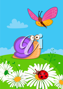 Vector illustration of cute insects in spring. Butterfly, ladybird and snail