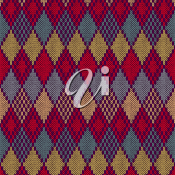 Vector Seamless Ornament Pattern. Knitting swatch
