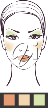 Beauty girl face with makeup vector illustration