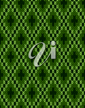 Style Knit woolen seamless jacquard ornament texture. Fabric Dark Green color tracery background