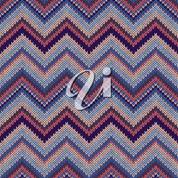 Seamless geometric ethnic spokes knitted pattern. Blue white orange red color knitwear sample