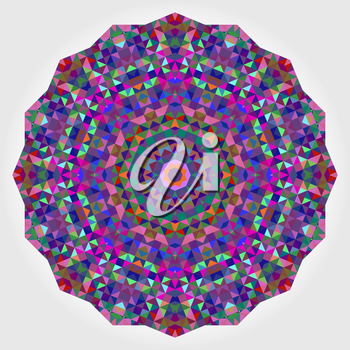 Abstract Flower. Creative Colorful Style Wheel Colorful Circle Geometric Backdrop. Red Green Orange Purple Lilac Violet Blue Violet Magenta White Color Round Background