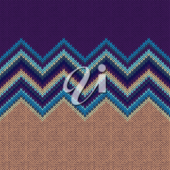 Seamless Ethnic Geometric Knitted Pattern. Style Blue Yellow Orange Green Violet Vector Background