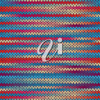 Seamless Knitted Melange Pattern. Blue Yellow Red Color Vector Illustration