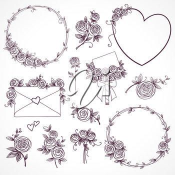 Set of floral design elements. Flower branch, wreaths, heart. Roses flowers. Wedding, birthday, valentines day concept