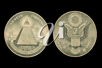 Image showing the seals of a dollar bill isolated on black