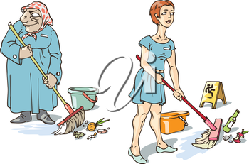 The young and old maids are doing their hard work.