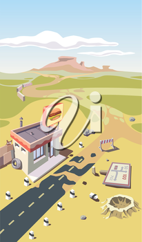 The lonely snack bar near the abandoned road in the desert.Editable vector EPS v9.0
