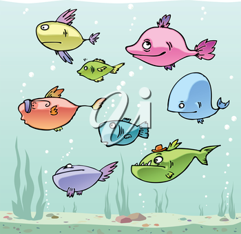Set of the funny cartoon fishes in their habitat.Editable vector EPS v9.0