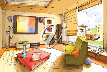 The light and empty interior of a cozy living room in a bright sunny day. The original vector image is layered.