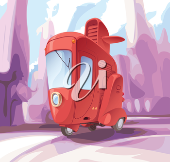 Concept of a retro-styled three-wheeled small city car.