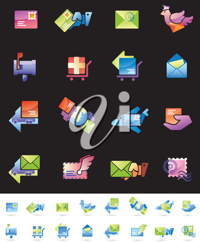 Mail delivery and shipping web icons set.