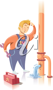 Plumber is embarrassed while looking at the waterpipe. It looks like he is a beginner at the plumbing service.