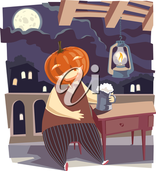 It is a moonlight night. A happy Jack O' Lantern having a good time drinking a big tankard of good beer.. This is the editable vector EPS v.9 file.