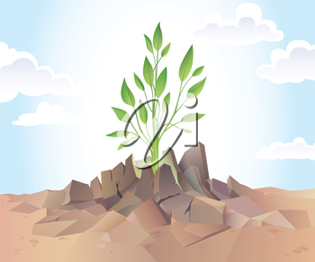 The young green sprout is breaking the dry hard soil.Editable vector EPS v9.0