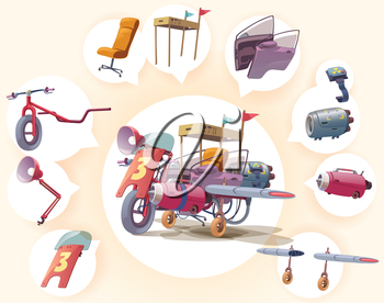 Royalty Free Clipart Image of a Junky Plane and the Parts